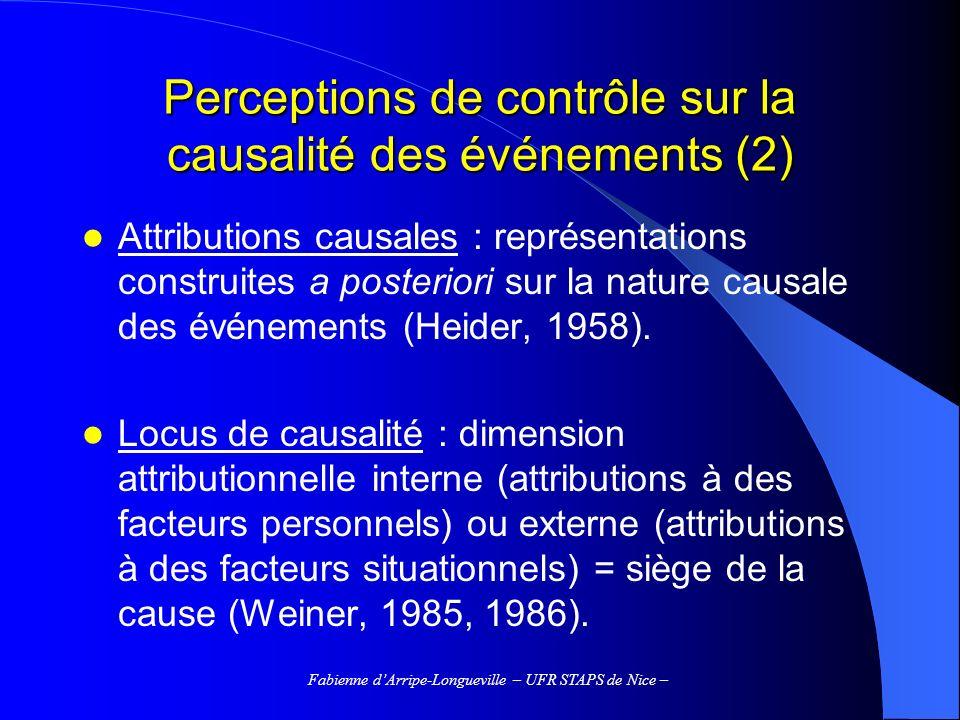 Perceptions de contrôle sur la causalité des événements (2)