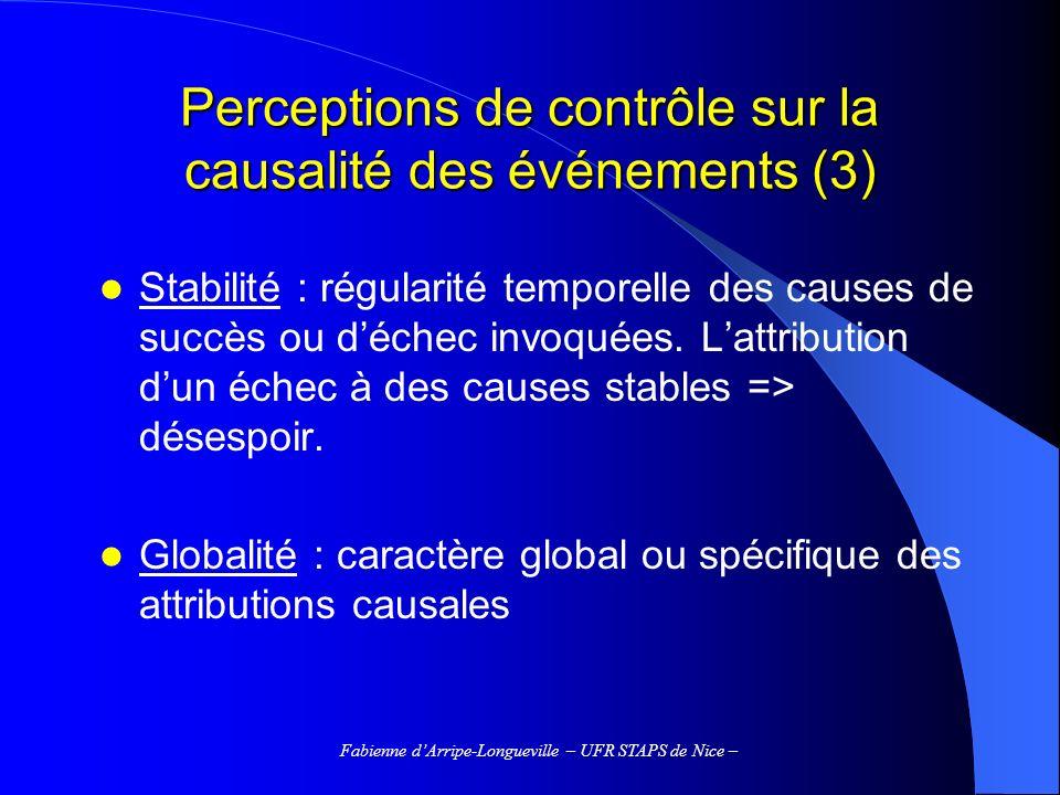 Perceptions de contrôle sur la causalité des événements (3)