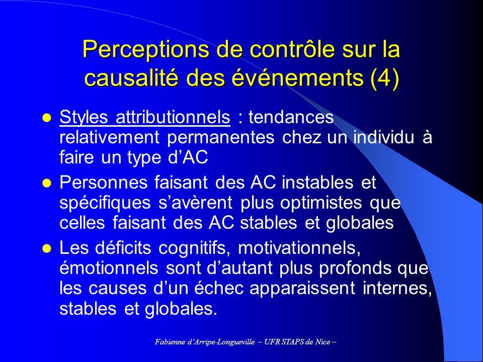 Perceptions de contrôle sur la causalité des événements (4)