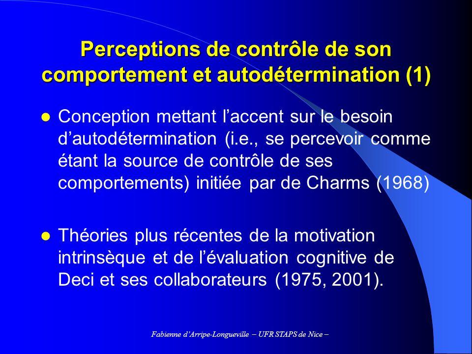 Perceptions de contrôle de son comportement et autodétermination (1)