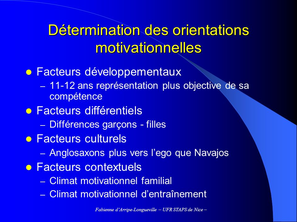 Détermination des orientations motivationnelles