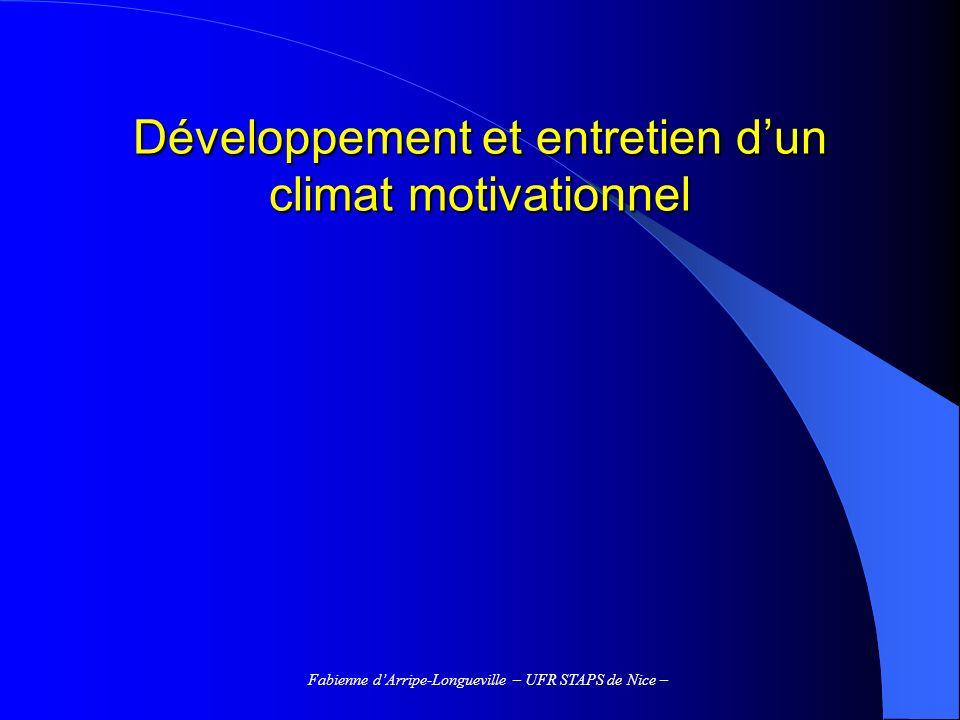 Développement et entretien d'un climat motivationnel