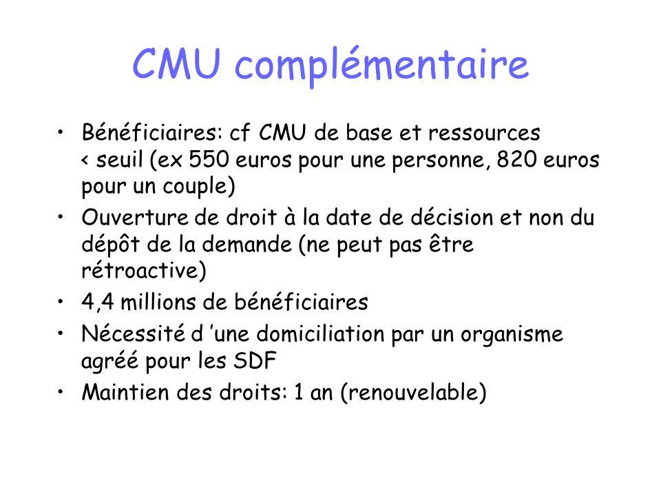 CMU complémentaire Bénéficiaires: cf CMU de base et ressources < seuil (ex 550 euros pour une personne, 820 euros pour un couple)
