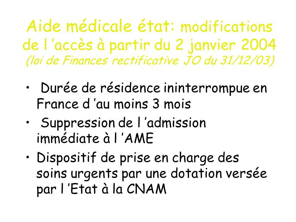 Aide médicale état: modifications de l 'accès à partir du 2 janvier 2004 (loi de Finances rectificative JO du 31/12/03)