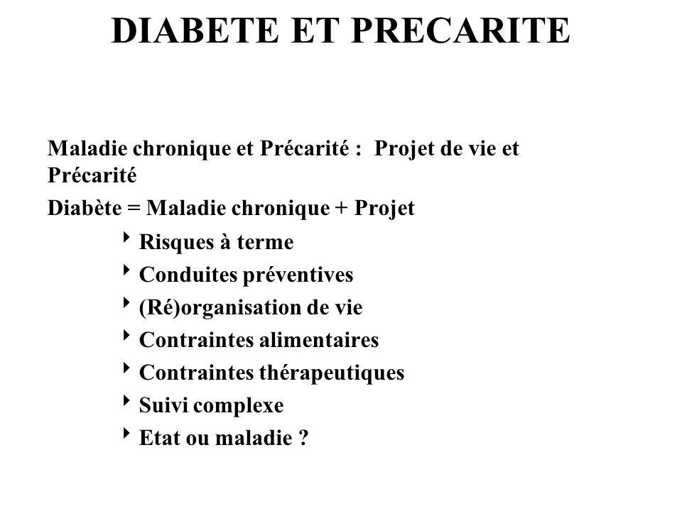 DIABETE ET PRECARITE Maladie chronique et Précarité : Projet de vie et Précarité. Diabète = Maladie chronique + Projet.