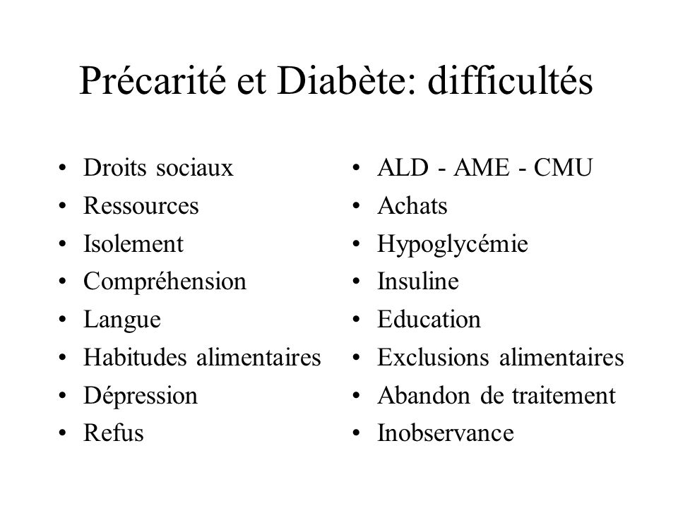 Précarité et Diabète: difficultés