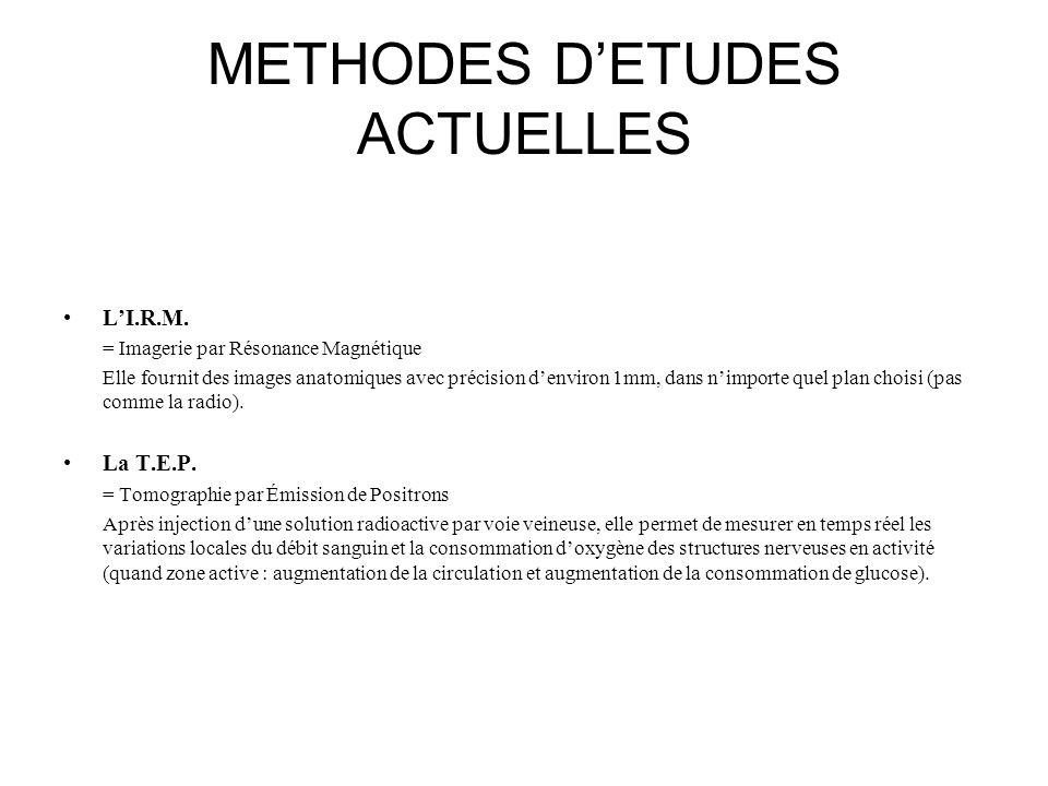 METHODES D'ETUDES ACTUELLES