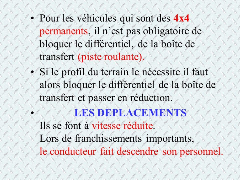 Pour les véhicules qui sont des 4x4 permanents, il n'est pas obligatoire de bloquer le différentiel, de la boîte de transfert (piste roulante).