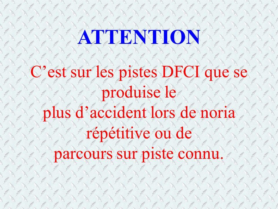ATTENTION C'est sur les pistes DFCI que se produise le plus d'accident lors de noria répétitive ou de parcours sur piste connu.