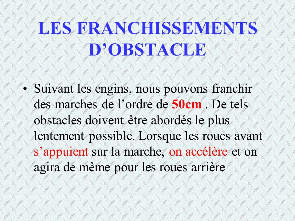LES FRANCHISSEMENTS D'OBSTACLE