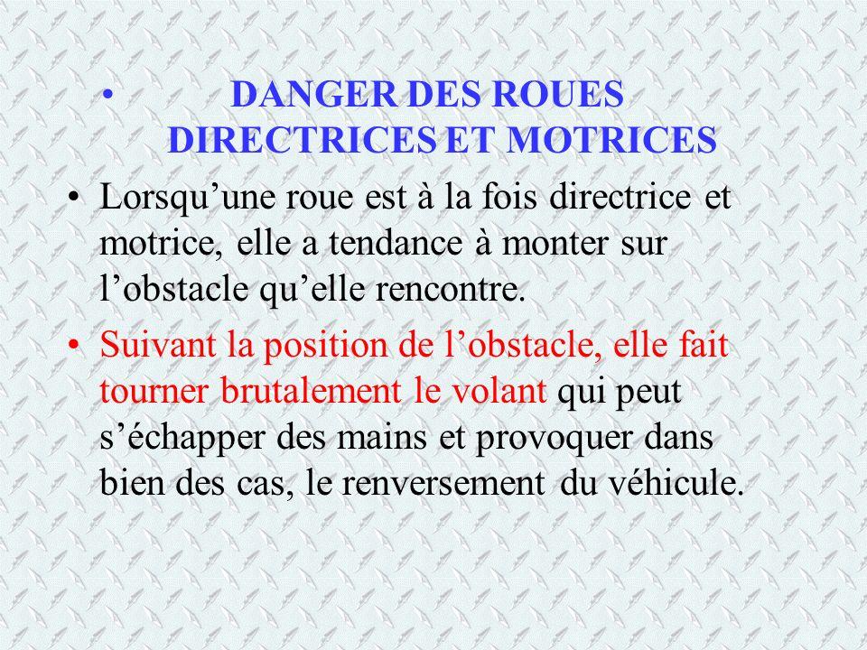 DANGER DES ROUES DIRECTRICES ET MOTRICES