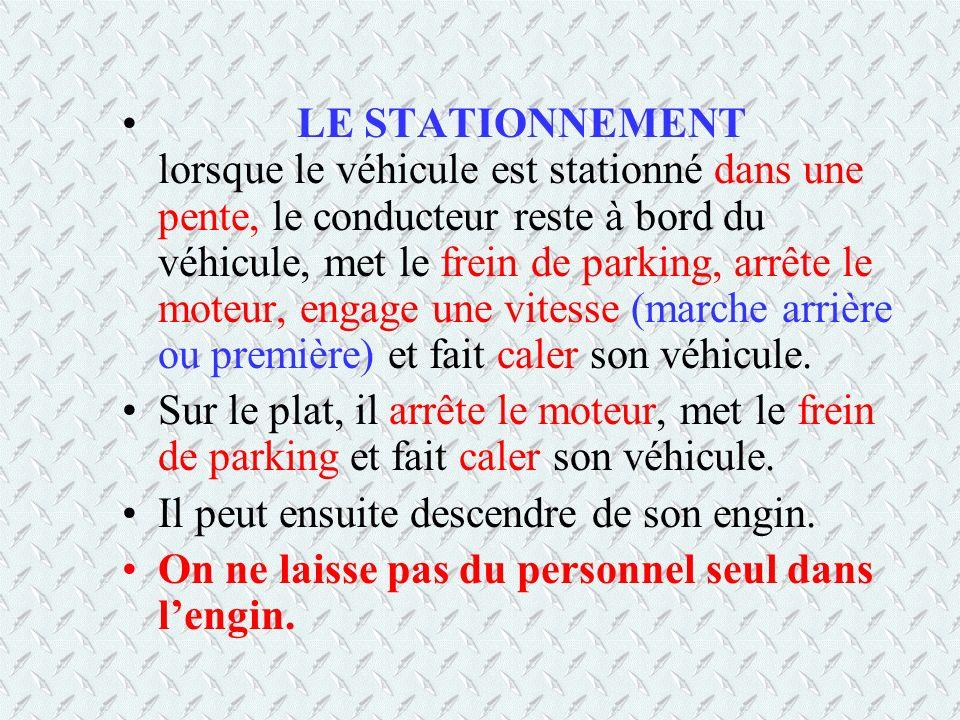 LE STATIONNEMENT lorsque le véhicule est stationné dans une pente, le conducteur reste à bord du véhicule, met le frein de parking, arrête le moteur, engage une vitesse (marche arrière ou première) et fait caler son véhicule.