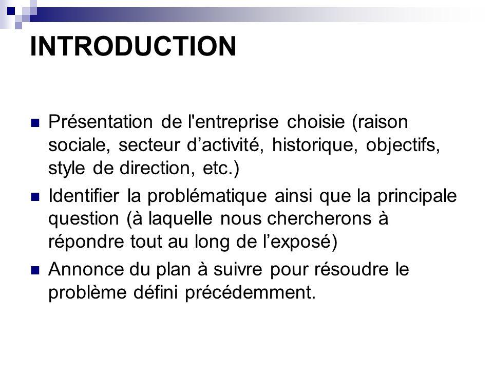 INTRODUCTION Présentation de l entreprise choisie (raison sociale, secteur d'activité, historique, objectifs, style de direction, etc.)