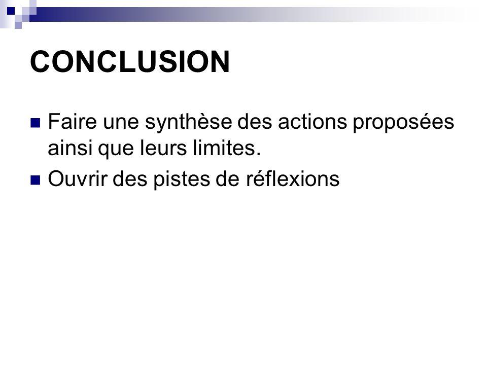 CONCLUSION Faire une synthèse des actions proposées ainsi que leurs limites.