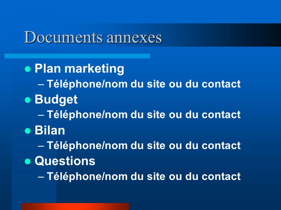 Documents annexes Plan marketing Budget Bilan Questions