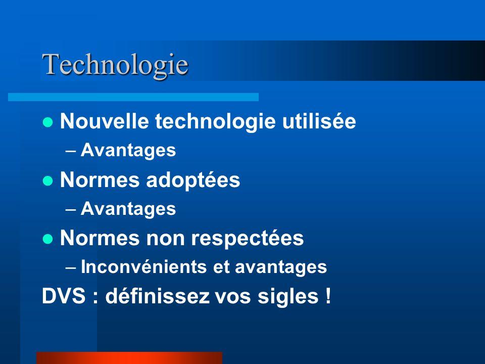 Technologie Nouvelle technologie utilisée Normes adoptées
