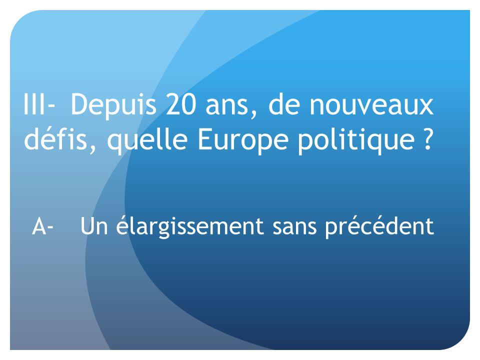 III- Depuis 20 ans, de nouveaux défis, quelle Europe politique