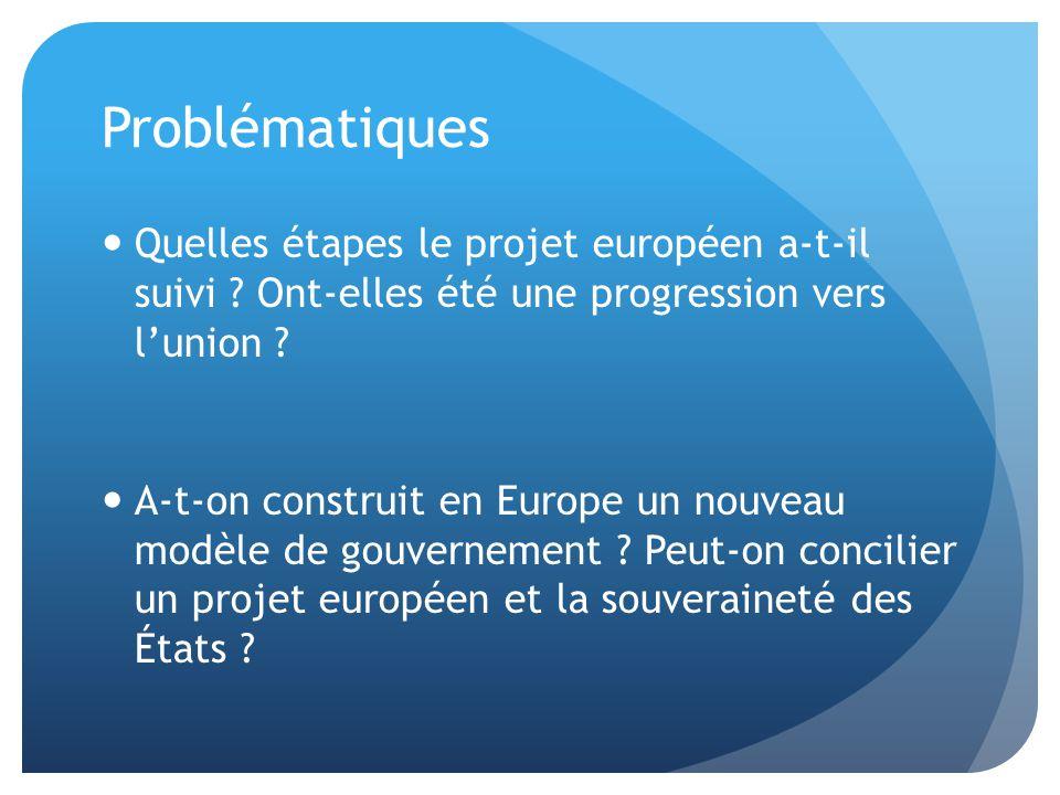 Problématiques Quelles étapes le projet européen a-t-il suivi Ont-elles été une progression vers l'union