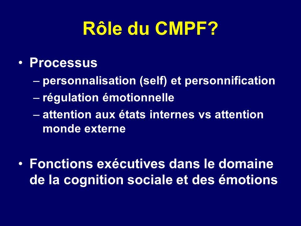 Rôle du CMPF Processus. personnalisation (self) et personnification. régulation émotionnelle.