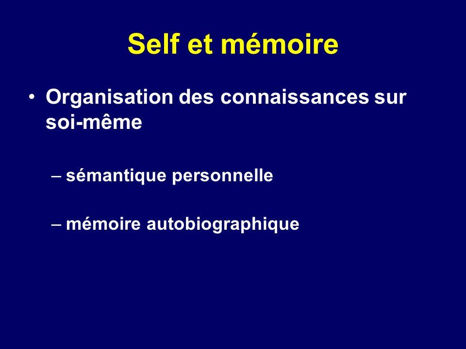 Self et mémoire Organisation des connaissances sur soi-même