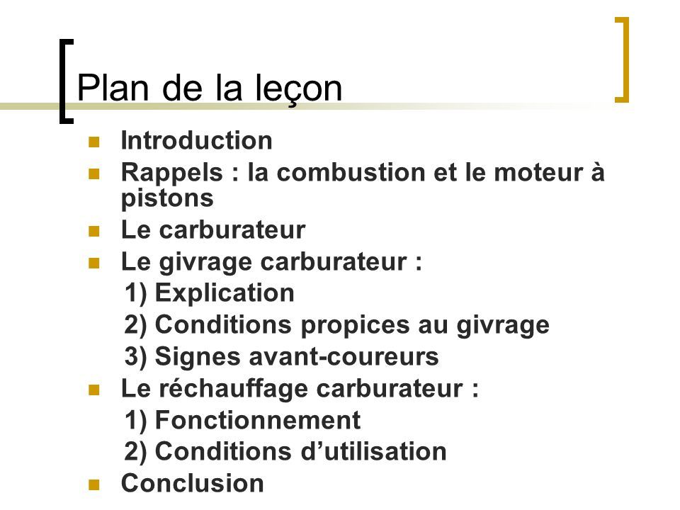 Plan de la leçon Introduction