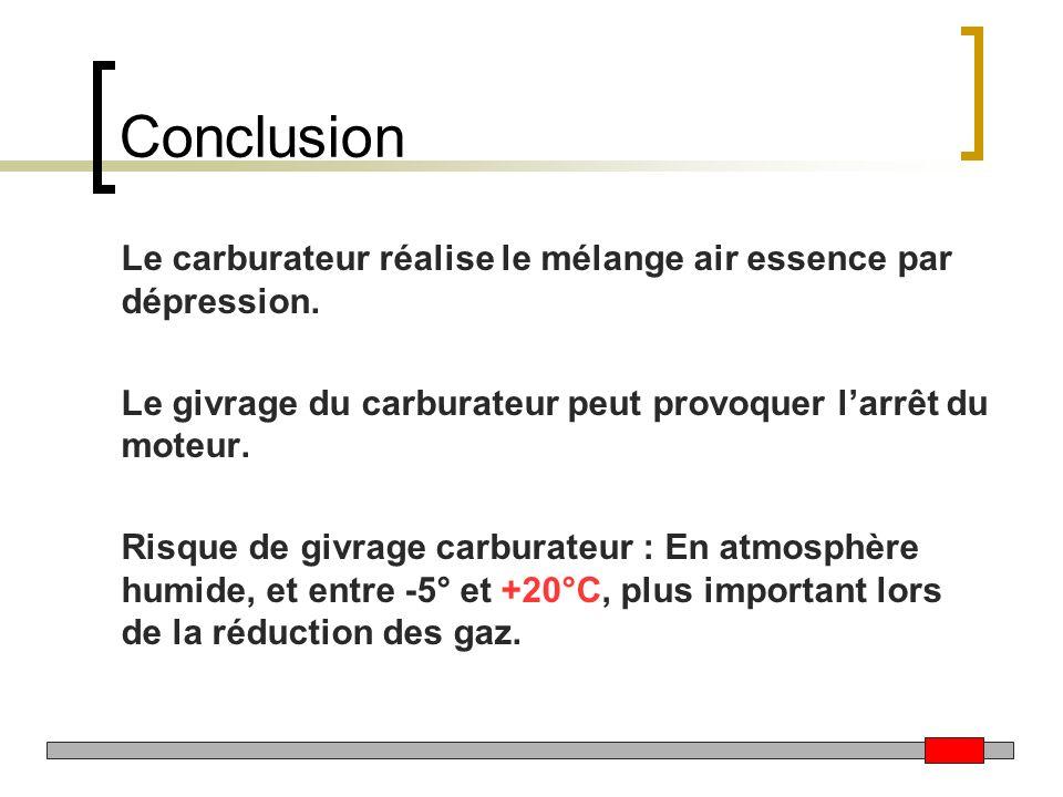 Conclusion Le carburateur réalise le mélange air essence par dépression. Le givrage du carburateur peut provoquer l'arrêt du moteur.