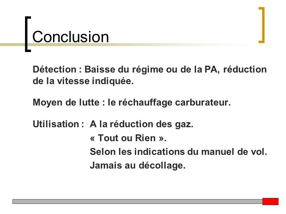 Conclusion Détection : Baisse du régime ou de la PA, réduction de la vitesse indiquée. Moyen de lutte : le réchauffage carburateur.