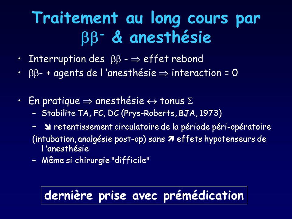 Traitement au long cours par - & anesthésie