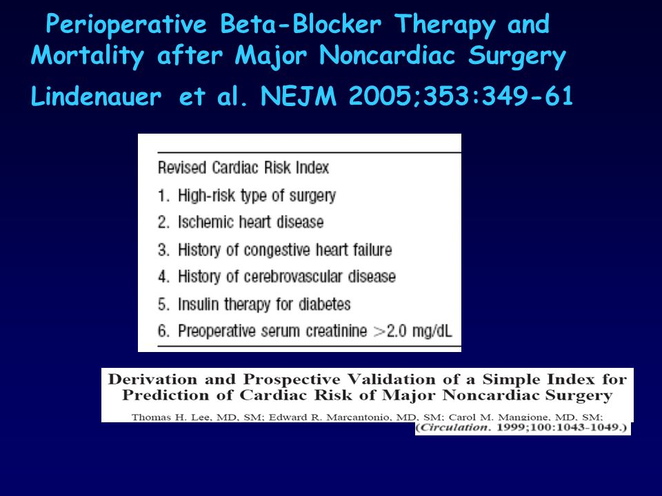 Perioperative Beta-Blocker Therapy and Mortality after Major Noncardiac Surgery Lindenauer et al.