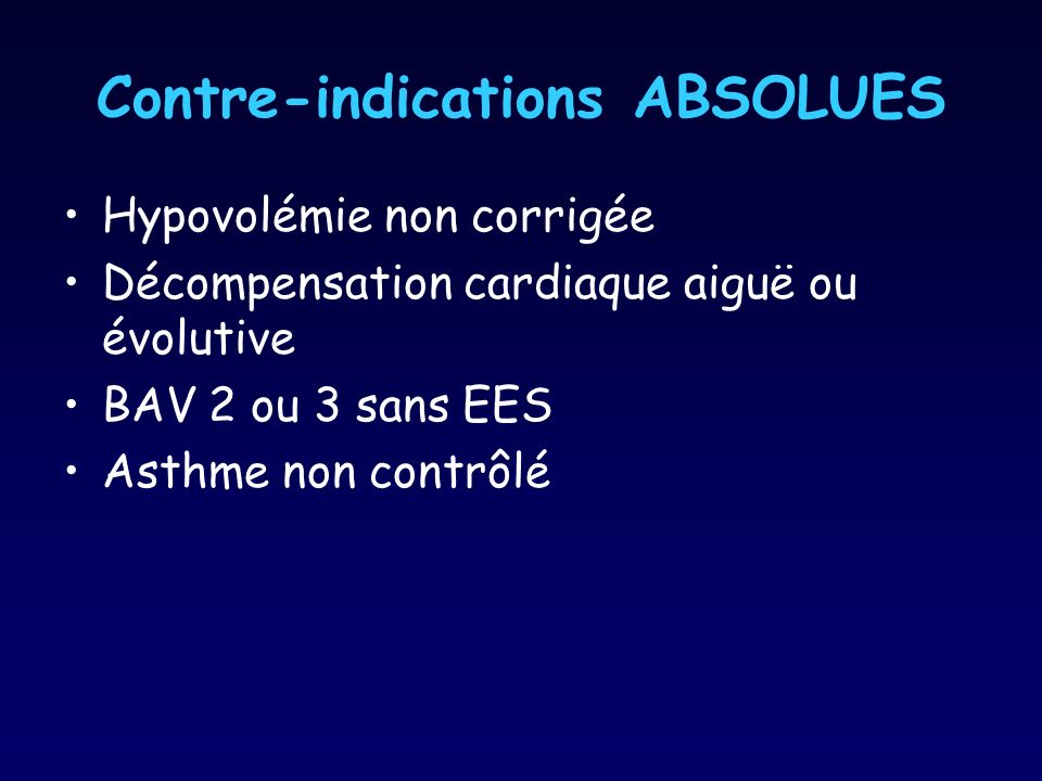 Contre-indications ABSOLUES
