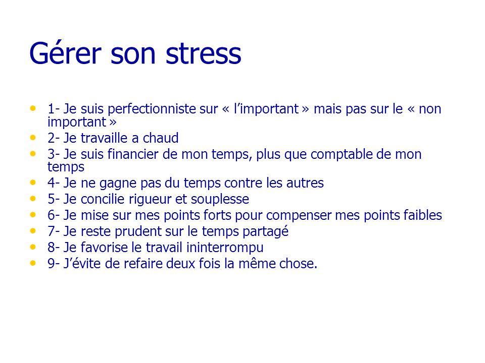 Gérer son stress1- Je suis perfectionniste sur « l'important » mais pas sur le « non important » 2- Je travaille a chaud.