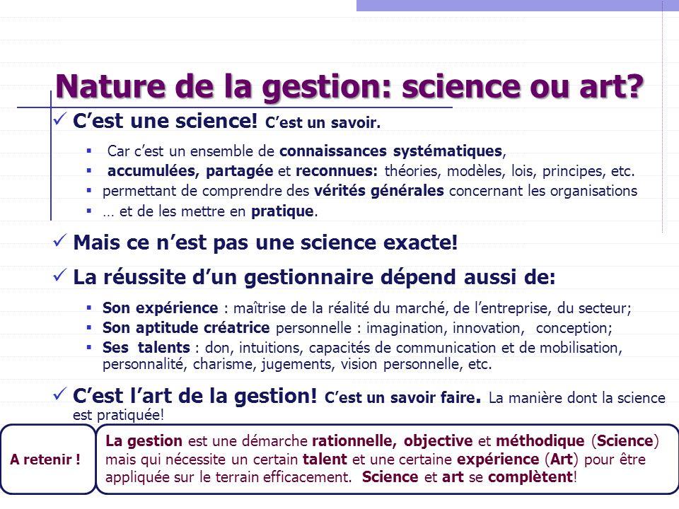 Nature de la gestion: science ou art