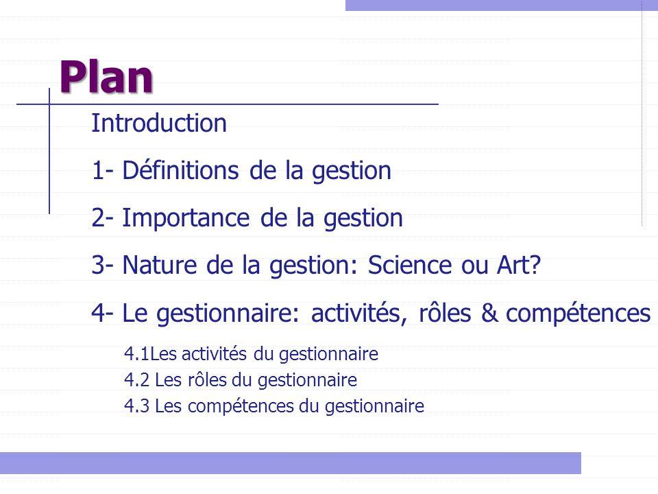 Plan Introduction 1- Définitions de la gestion
