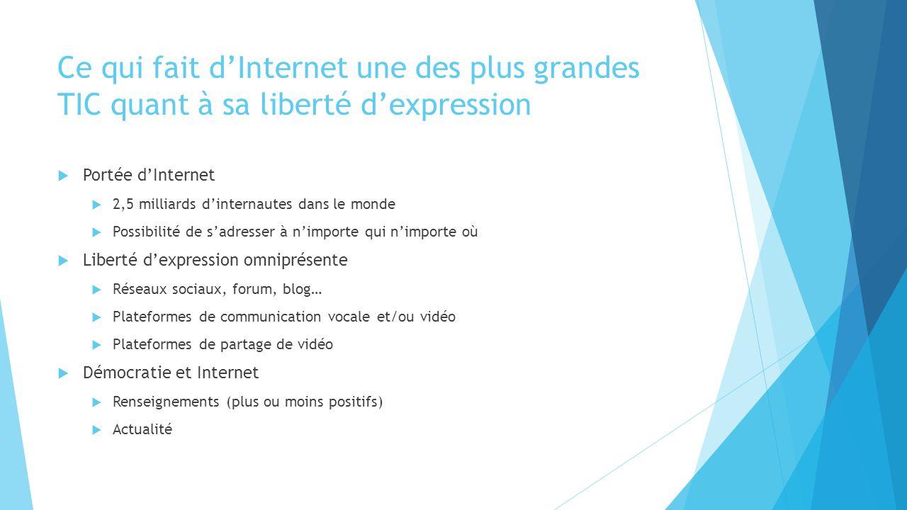 Ce qui fait d'Internet une des plus grandes TIC quant à sa liberté d'expression