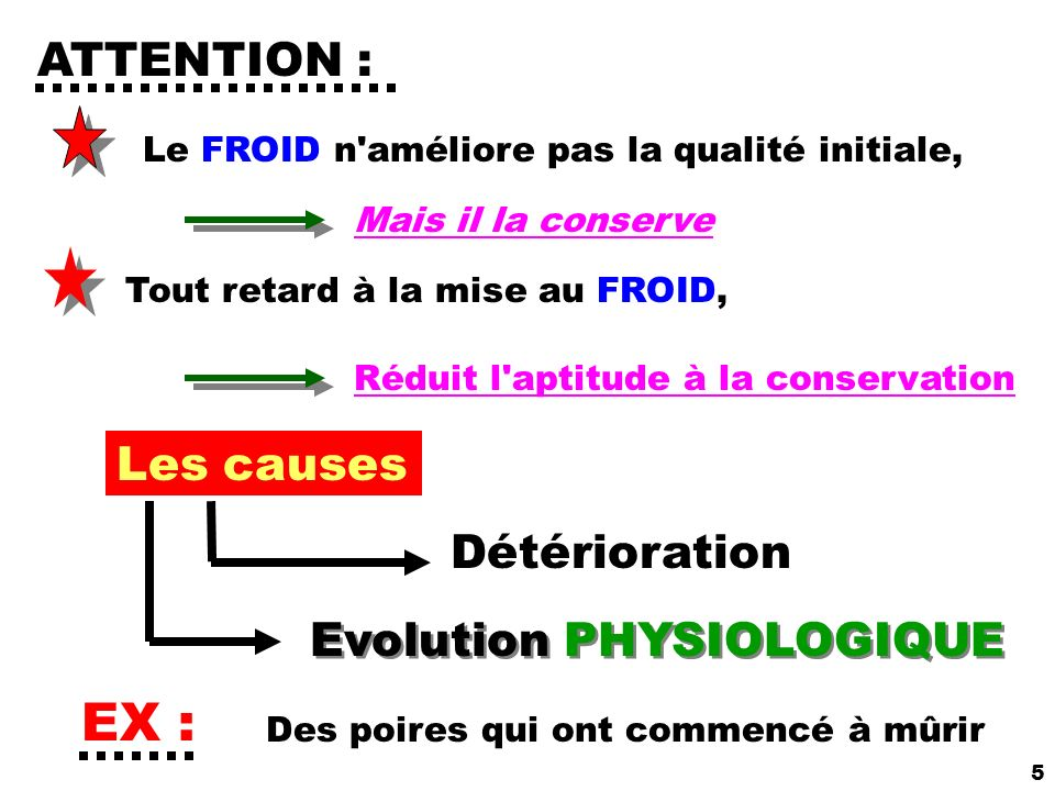 EX : ATTENTION : Les causes Détérioration Evolution PHYSIOLOGIQUE