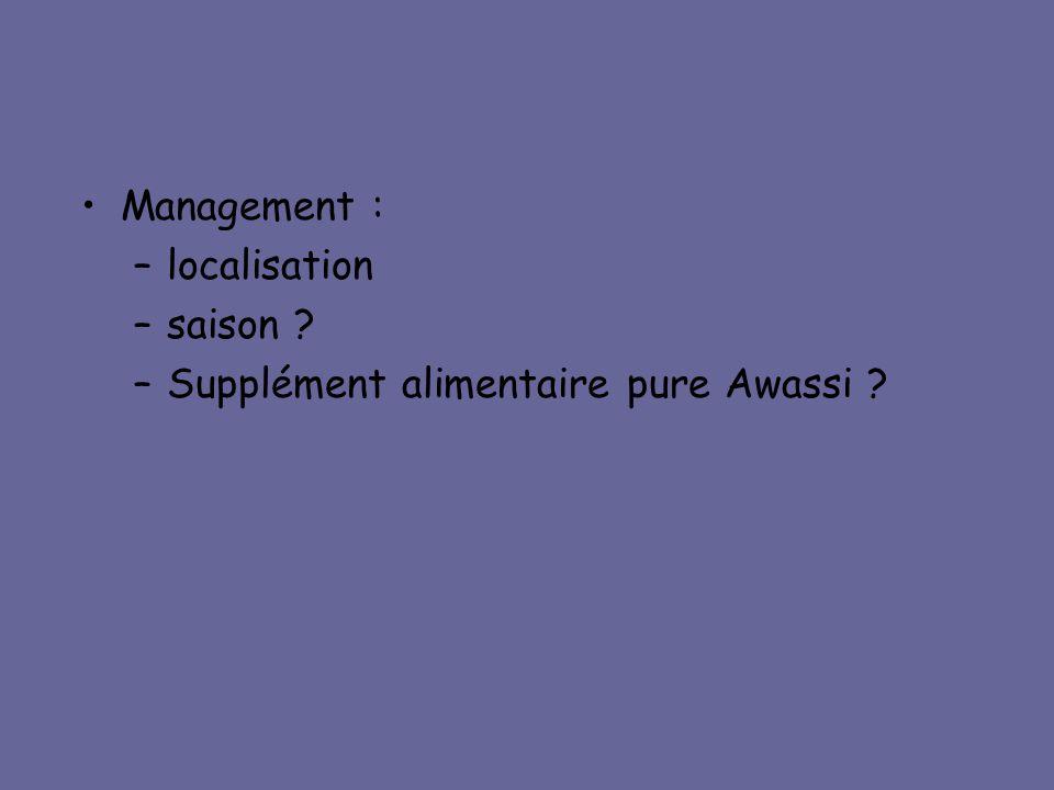 Management : localisation saison Supplément alimentaire pure Awassi