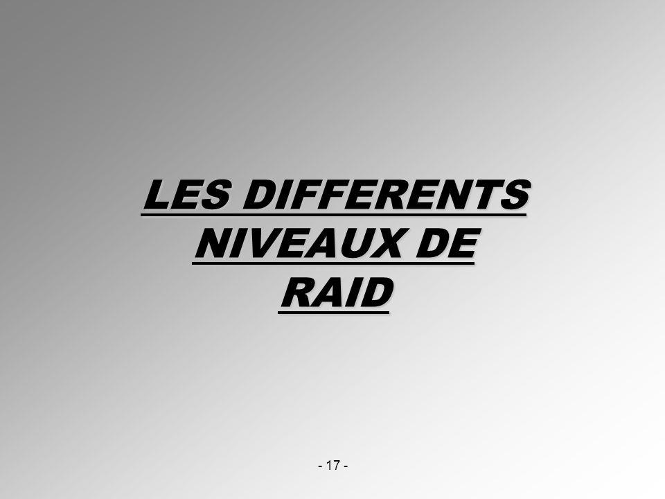 LES DIFFERENTS NIVEAUX DE RAID