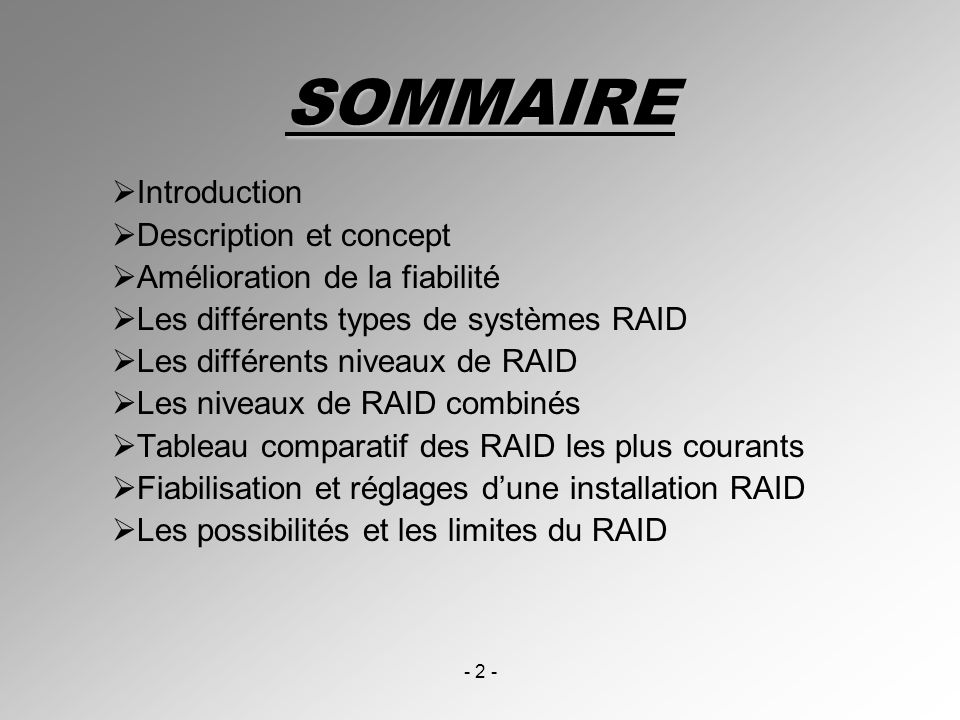 SOMMAIRE Introduction Description et concept