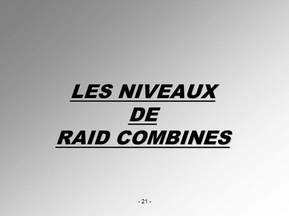 LES NIVEAUX DE RAID COMBINES