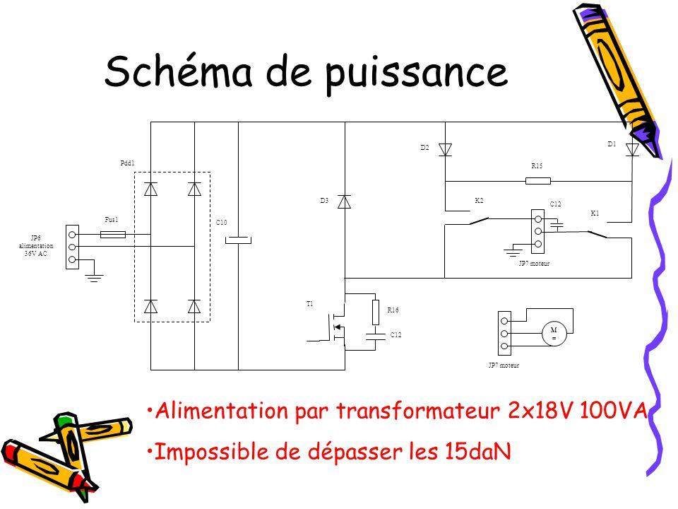Schéma de puissance Alimentation par transformateur 2x18V 100VA