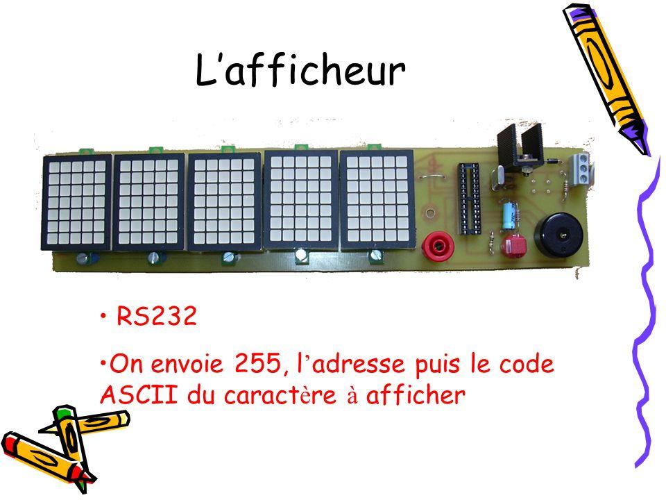 L'afficheur RS232 On envoie 255, l'adresse puis le code ASCII du caractère à afficher
