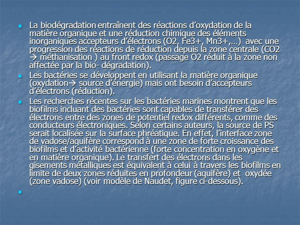 La biodégradation entraînent des réactions d'oxydation de la matière organique et une réduction chimique des éléments inorganiques accepteurs d'électrons (O2, Fe3+, Mn3+,…) avec une progression des réactions de réduction depuis la zone centrale (CO2  méthanisation ) au front redox (passage O2 réduit à la zone non affectée par la bio- dégradation).