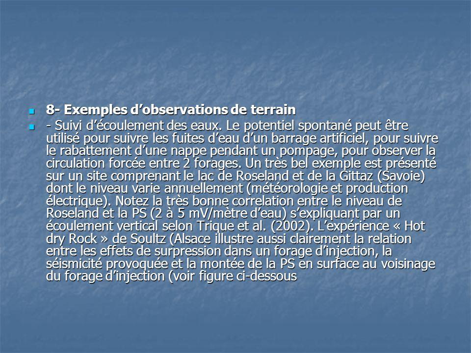 8- Exemples d'observations de terrain