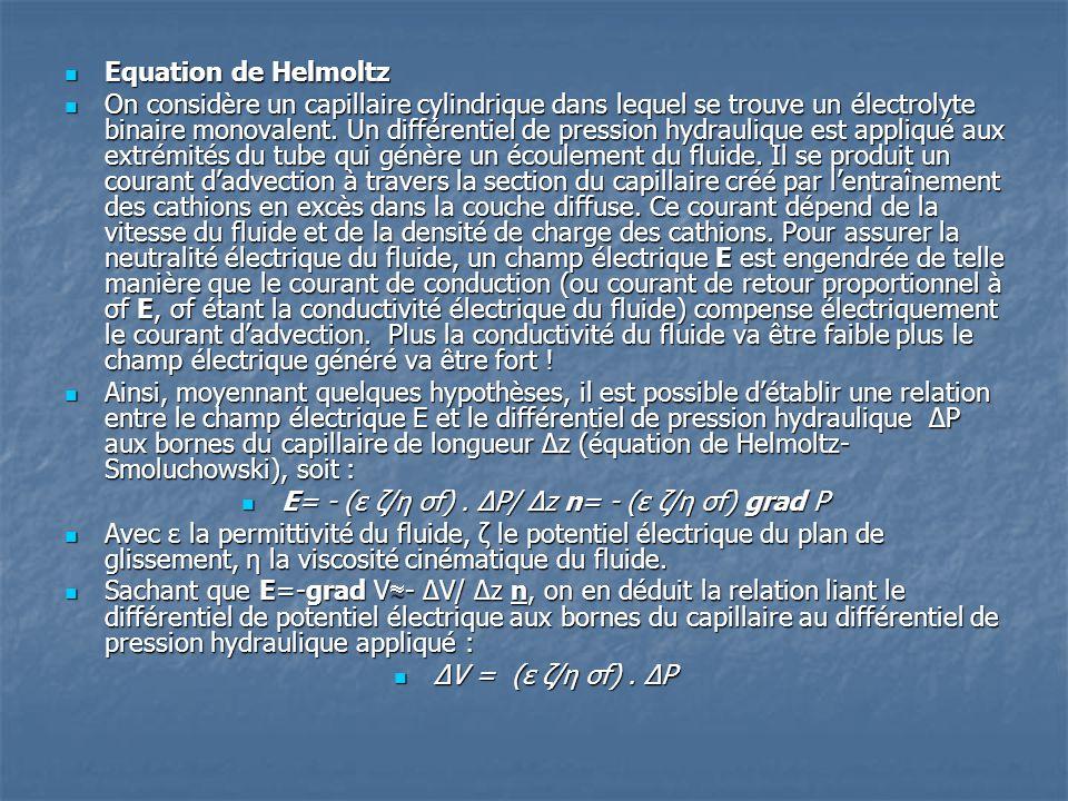E= - (ε ζ/η σf) . ΔP/ Δz n= - (ε ζ/η σf) grad P
