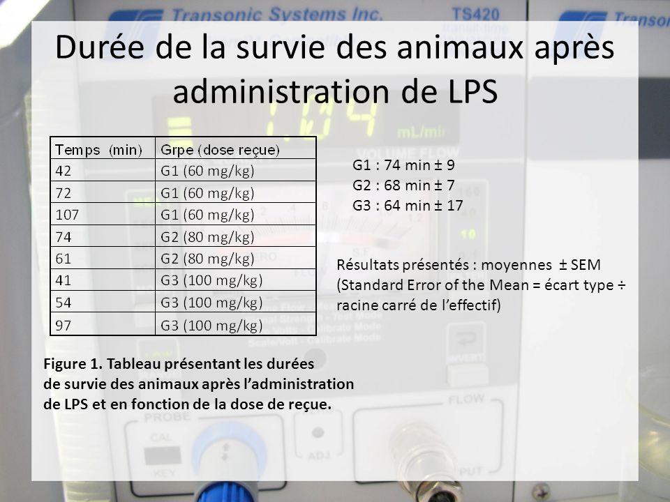 Durée de la survie des animaux après administration de LPS