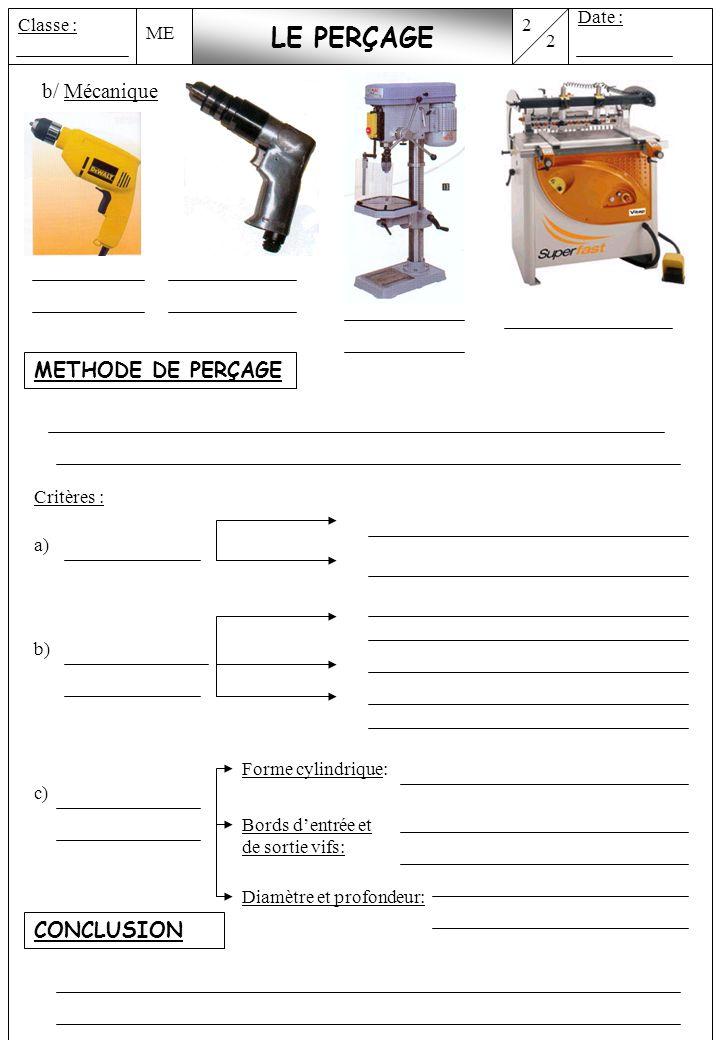 LE PERÇAGE b/ Mécanique METHODE DE PERÇAGE CONCLUSION Date : Classe :