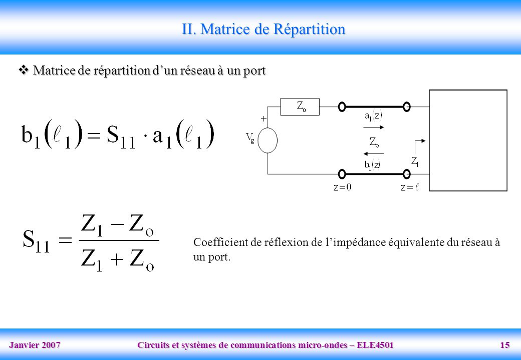 II. Matrice de Répartition