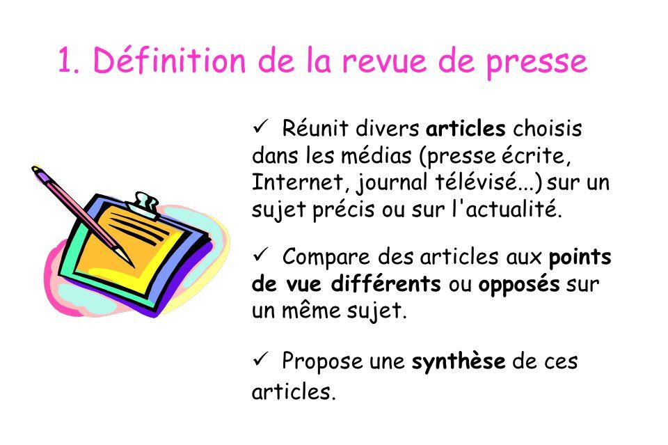 1. Définition de la revue de presse
