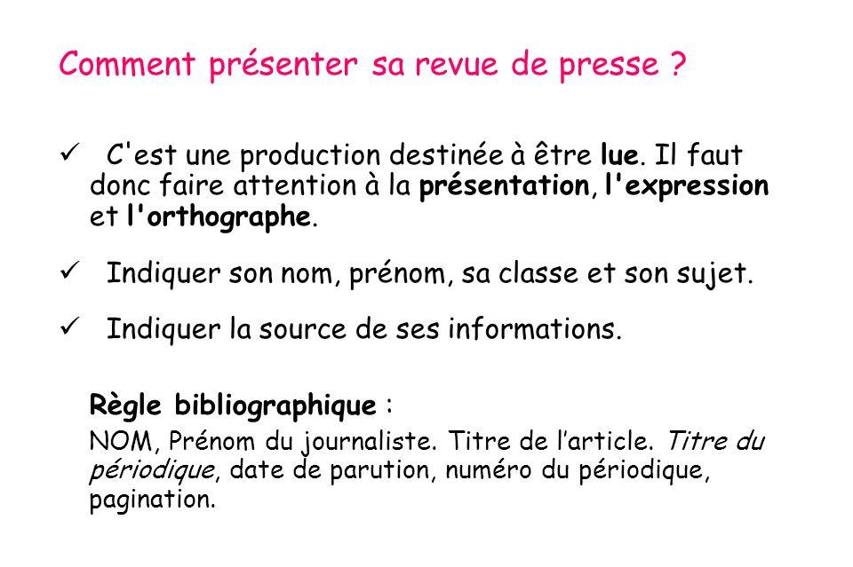 Comment présenter sa revue de presse