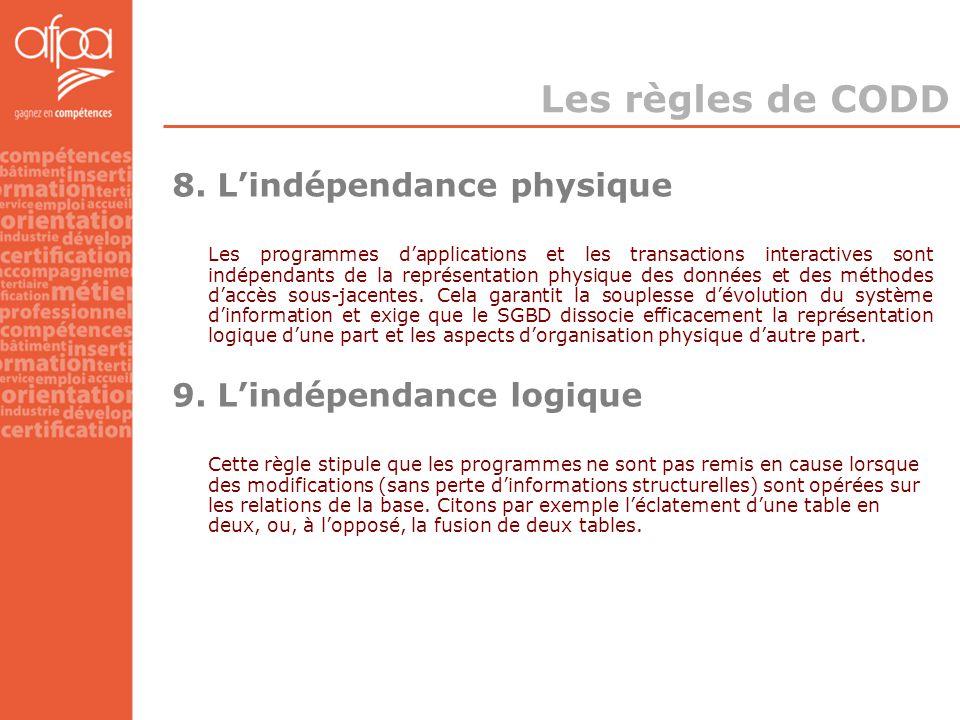 Les règles de CODD 8. L'indépendance physique